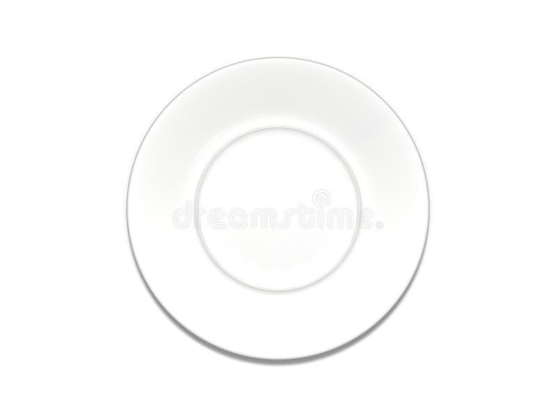 Placa blanca aislada en un fondo blanco fotos de archivo