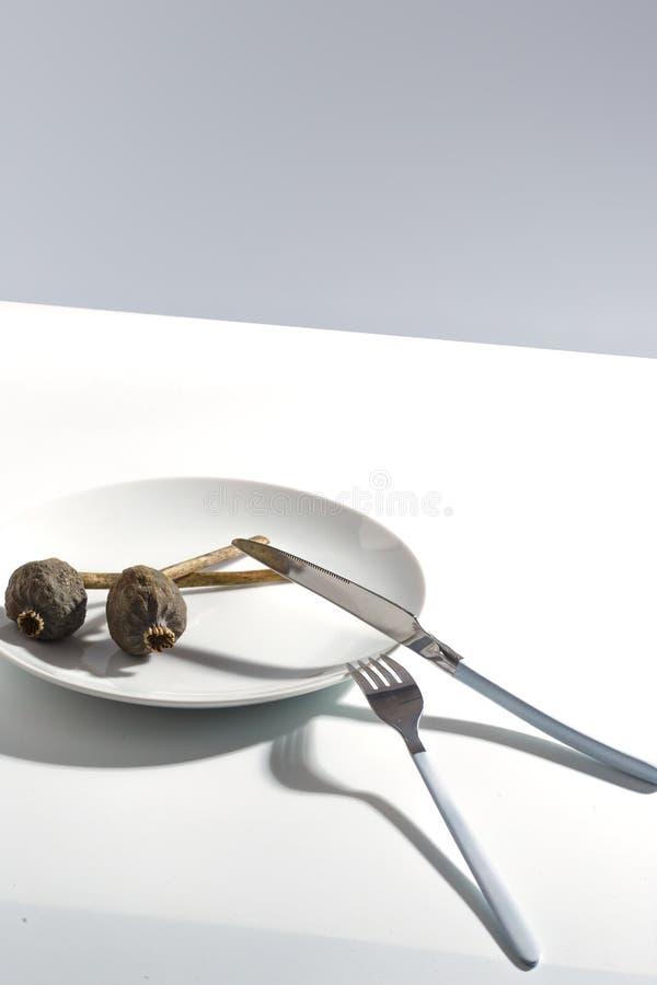 Placa blanca, cubiertos y amapola seca en una placa en una tabla brillante Concepto minimalistic de Cretive fotos de archivo libres de regalías