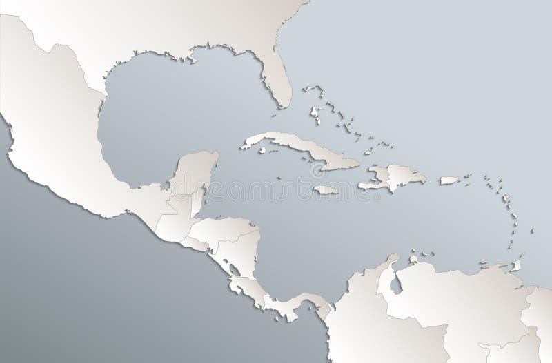 Placa branca azul do vetor 3D do cartão do mapa de América Central das ilhas das Caraíbas ilustração royalty free