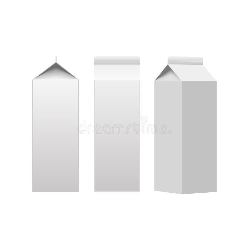 Placa branca de empacotamento da caixa do pacote da caixa do leite ou do suco isolada Vetor ilustração do vetor