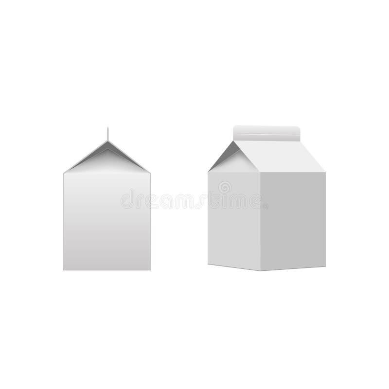 Placa branca de empacotamento da caixa do pacote da caixa do leite ou do suco isolada Vetor ilustração stock