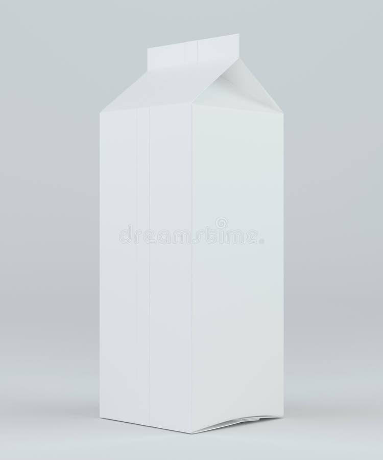 Placa branca de empacotamento da caixa do pacote da caixa do leite ou do suco rendição 3d ilustração do vetor