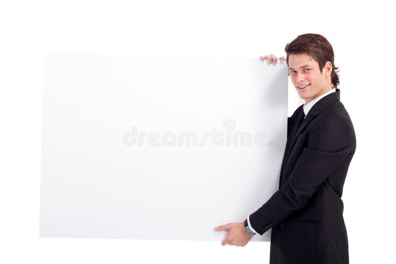 Placa branca do homem de negócios fotos de stock royalty free