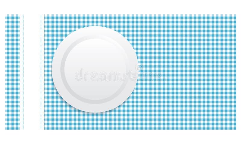 Placa branca na toalha de mesa azul ilustração royalty free