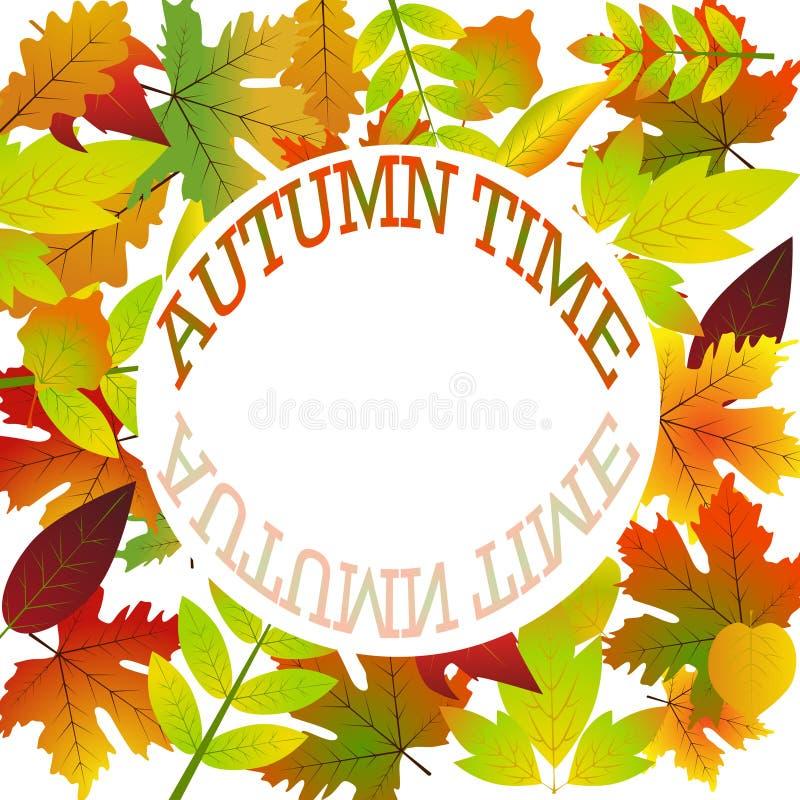 Placa branca no fundo do outono com folhas de bordo ilustração do vetor