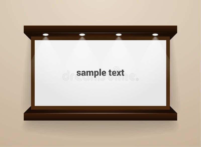Placa branca realística no quadro de madeira escuro com luzes do ponto ilustração do vetor