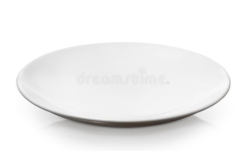 Placa branca vazia, limpa da porcelana isolada no fundo branco fotografia de stock royalty free