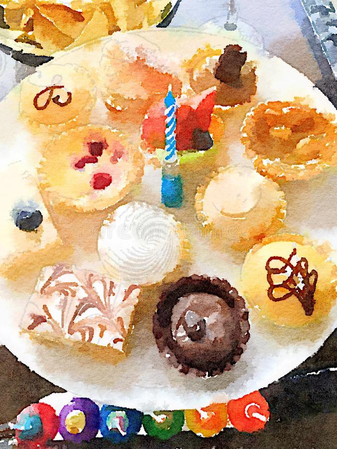 Placa brillantemente coloreada de las magdalenas del cumpleaños con una vela en el centro stock de ilustración