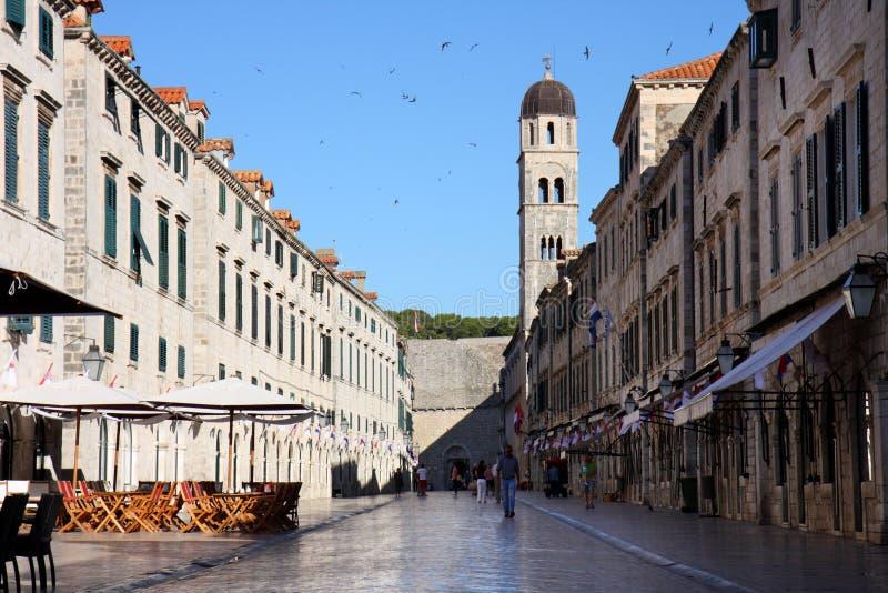 Placa, calle principal de Dubrovnik imagen de archivo