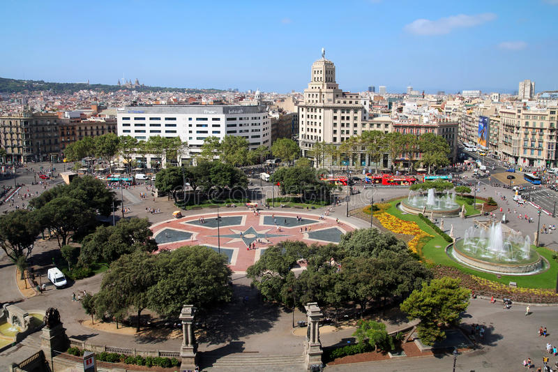 Placa Catalunya,巴塞罗那,西班牙天线  免版税图库摄影
