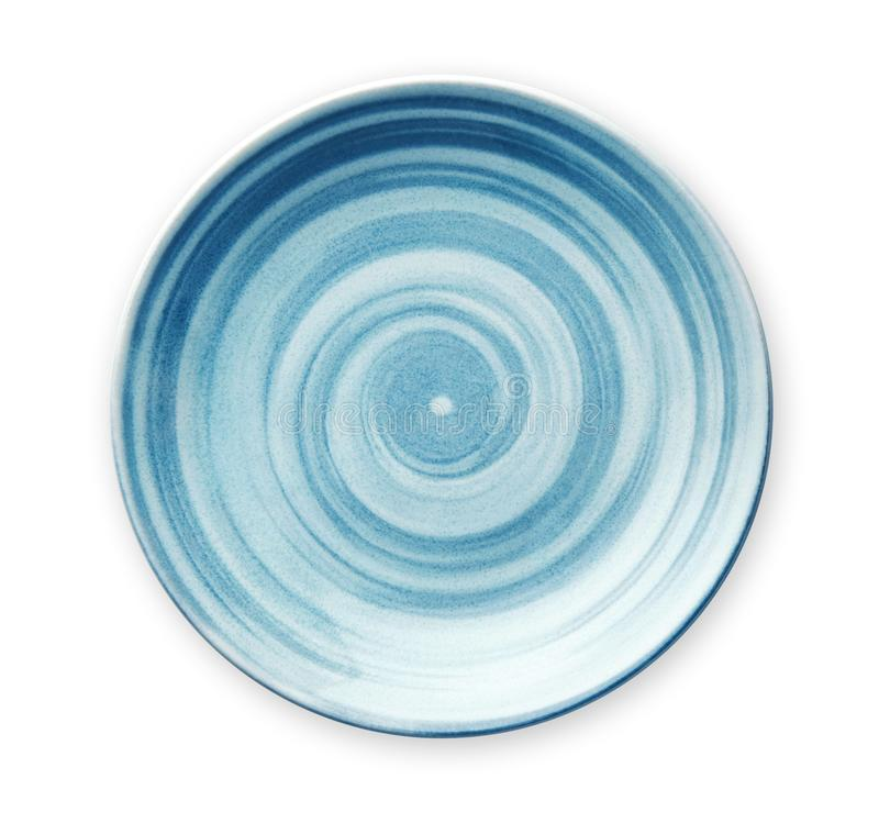 Placa cerâmica azul vazia com teste padrão espiral em estilos da aquarela, vista de cima do isolado no fundo branco com trajeto d foto de stock royalty free