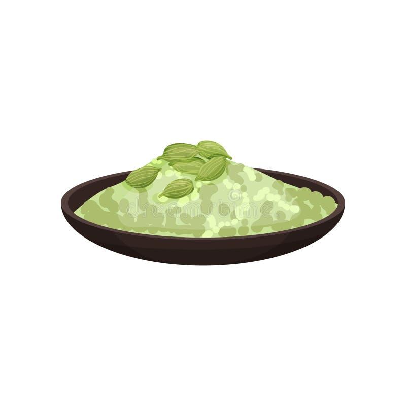 Placa cerâmica com pó do cardamomo e sementes verdes na parte superior Tempero aromático cozinhando o ingrediente Ícone liso do v ilustração do vetor