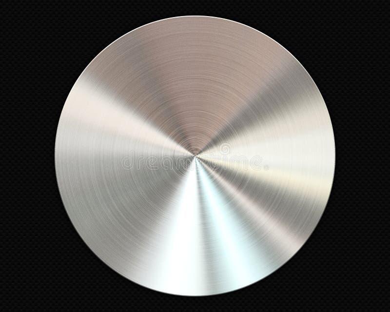 Placa circular escovada do metal no fundo da fibra do carbono ilustração royalty free