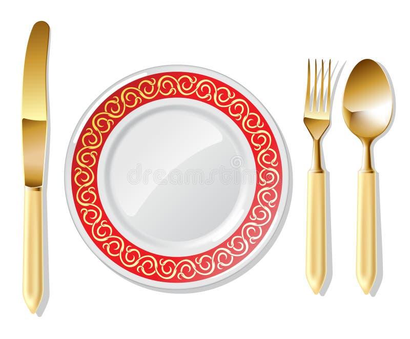 Placa, colher dourada, forquilha e faca ilustração royalty free