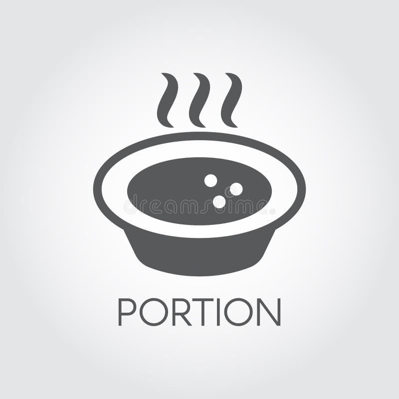 Placa com alimento quente e cozinhar Parcela de sopa ou de outros pratos Ícone liso para receitas, livros culinários e outro ilustração royalty free
