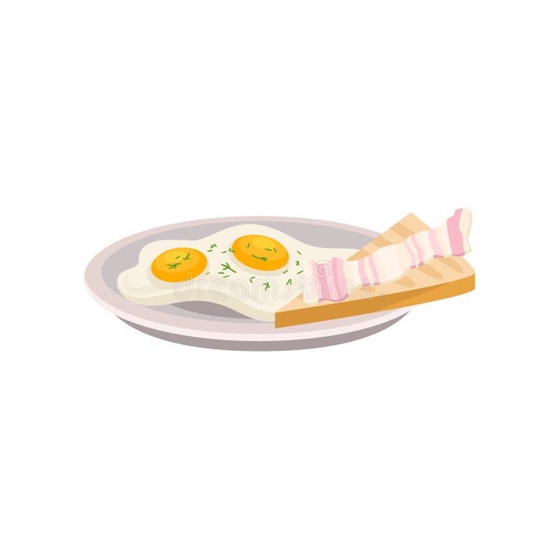 Placa com ovos fritos e pão fresco com parte de bacon Refeição saboroso do café da manhã tradicional Elemento liso do vetor para ilustração stock