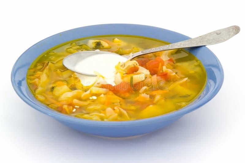 Placa com sopa fotografia de stock