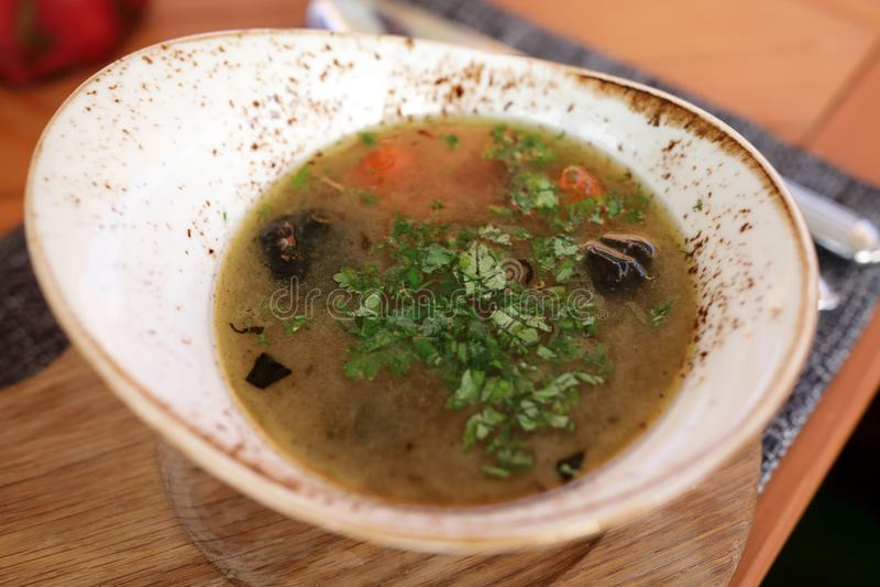 Placa com sopa dos peixes imagens de stock royalty free