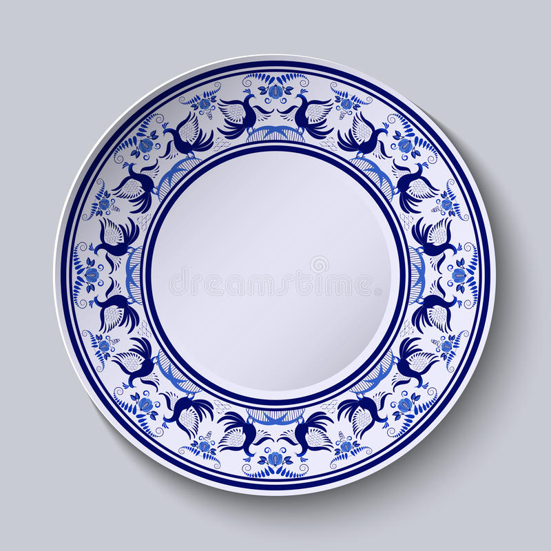 Placa com teste padrão no estilo do gzhel da pintura na porcelana Ornamento largo ao longo da borda com flores e pássaros ilustração do vetor