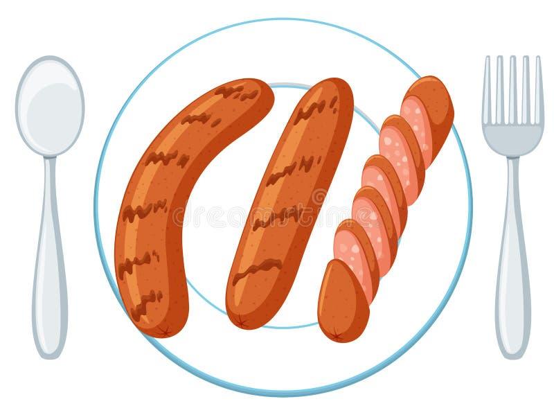 Placa com três salsichas ilustração do vetor