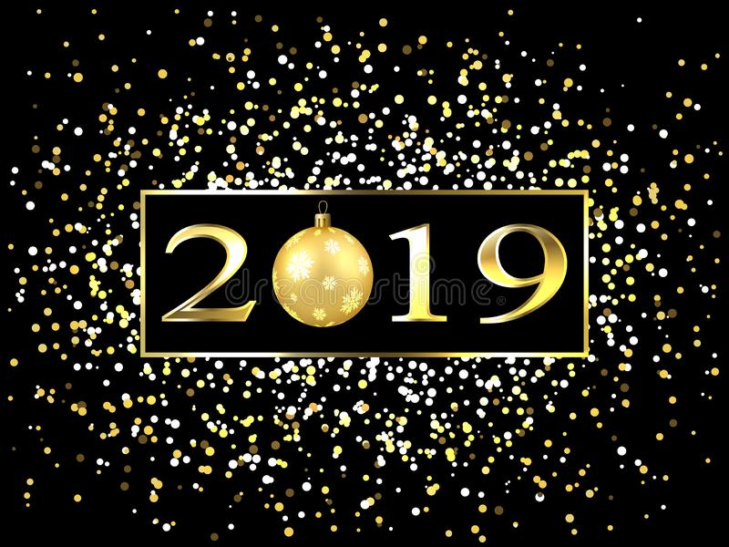 Placa com um quadro do ouro, com numerais do metal 2019 anos novos Flocos de neve brilhantes, brilho, luzes de piscamento, uma bo ilustração stock