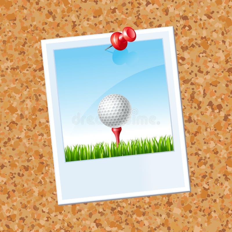 Placa com uma foto uma bola de golfe ilustração do vetor