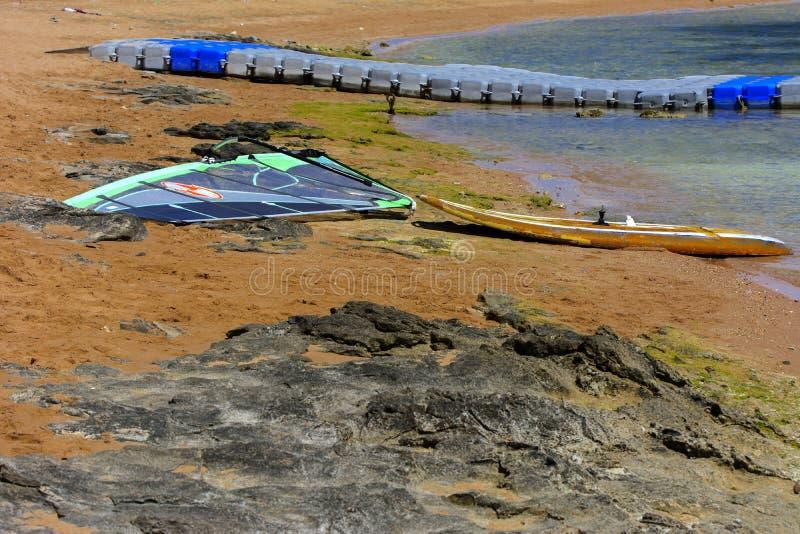 A placa com uma vela para lições do windsurfe está em um Sandy Beach ao lado do mar no fundo da areia amarela foto de stock royalty free