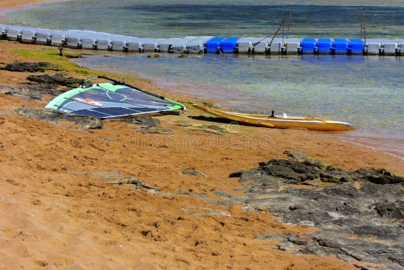 A placa com uma vela para lições do windsurfe está em um Sandy Beach ao lado do mar no fundo da areia amarela fotos de stock royalty free