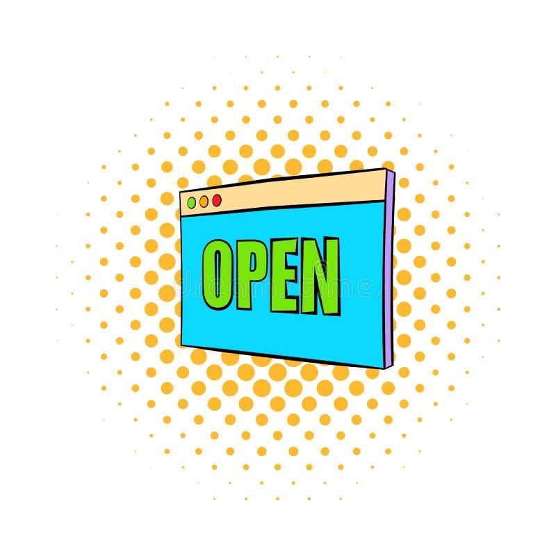 Placa con el icono abierto de la muestra, estilo de los tebeos libre illustration