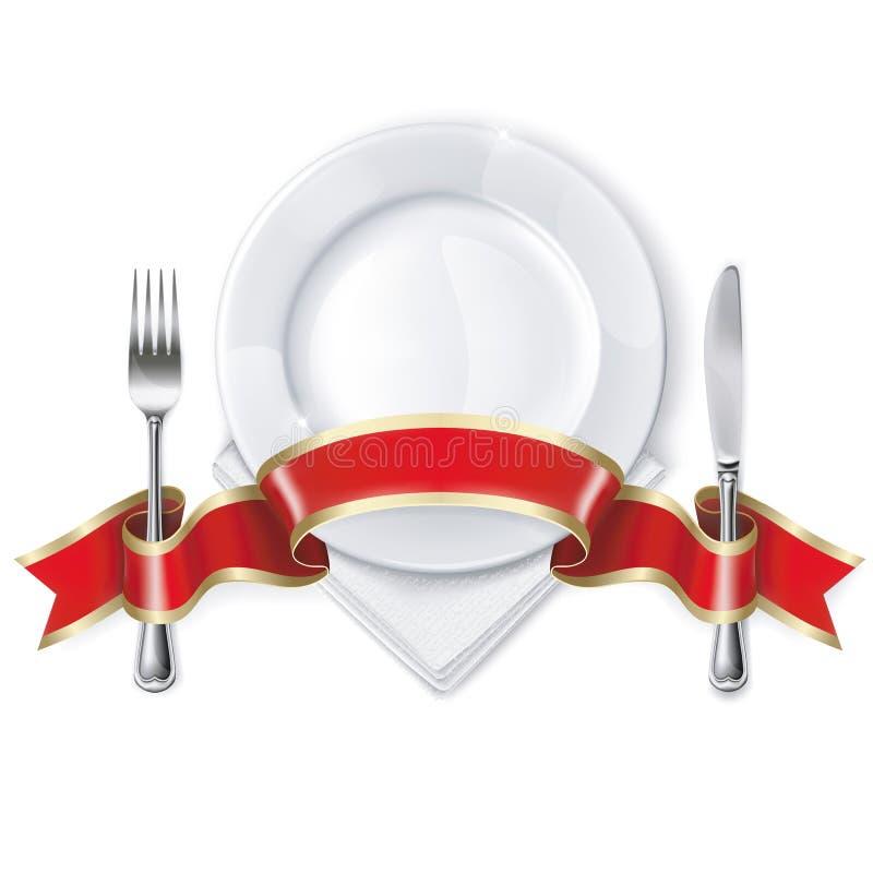 Placa con la cinta, la cuchara, el cuchillo y la bifurcación libre illustration