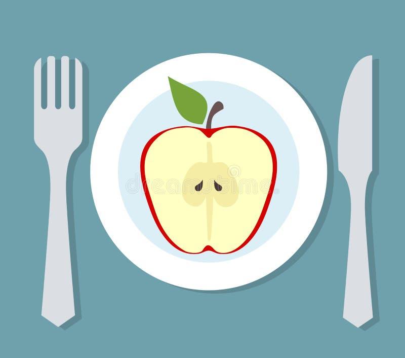 Placa con la manzana, la bifurcación y el cuchillo Tema de la dieta stock de ilustración