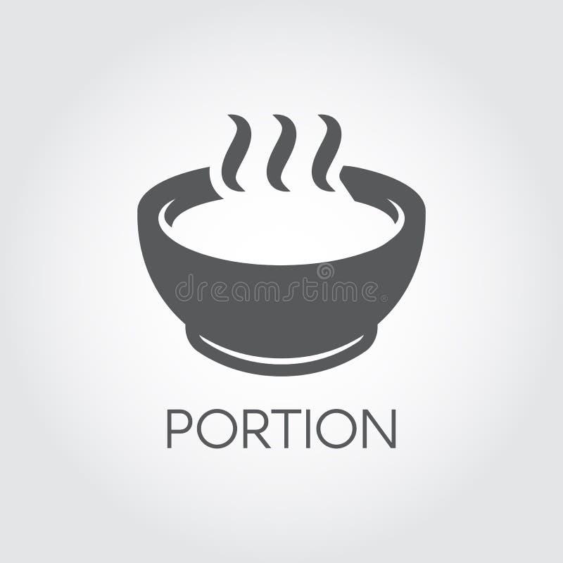 Placa con la porción de comida caliente La sopa, la sopa de pescado, el caldo y el otro concepto de los platos Icono plano para e ilustración del vector