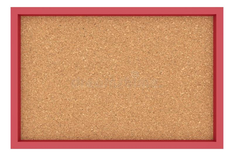 Placa Cork Billboard With Red Frame no fundo branco fotos de stock royalty free