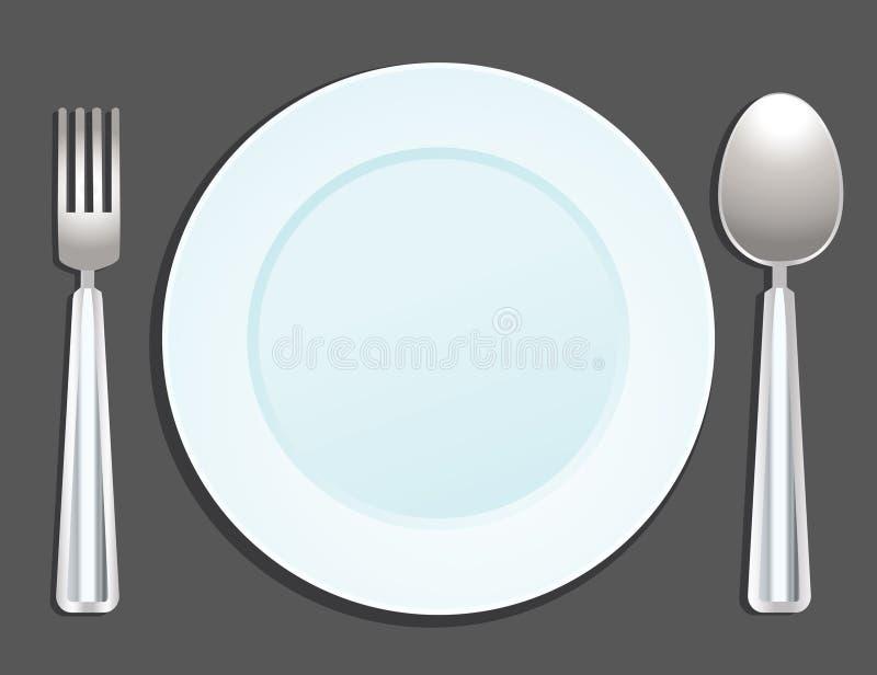 Placa, cuchara y fork libre illustration
