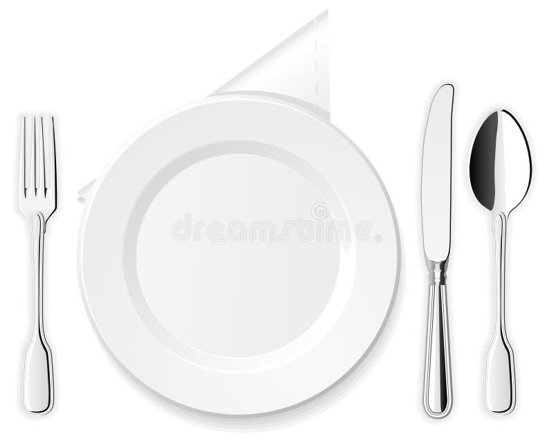 Placa, cuchillo, cuchara y fork ilustración del vector