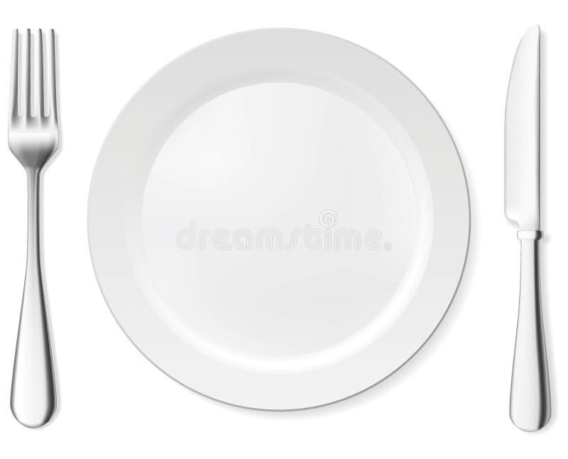 Placa, cuchillo y fork de cena ilustración del vector