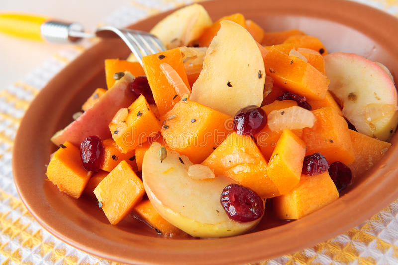 Placa da abóbora, cozinhada com maçãs e as airelas secadas fotos de stock royalty free