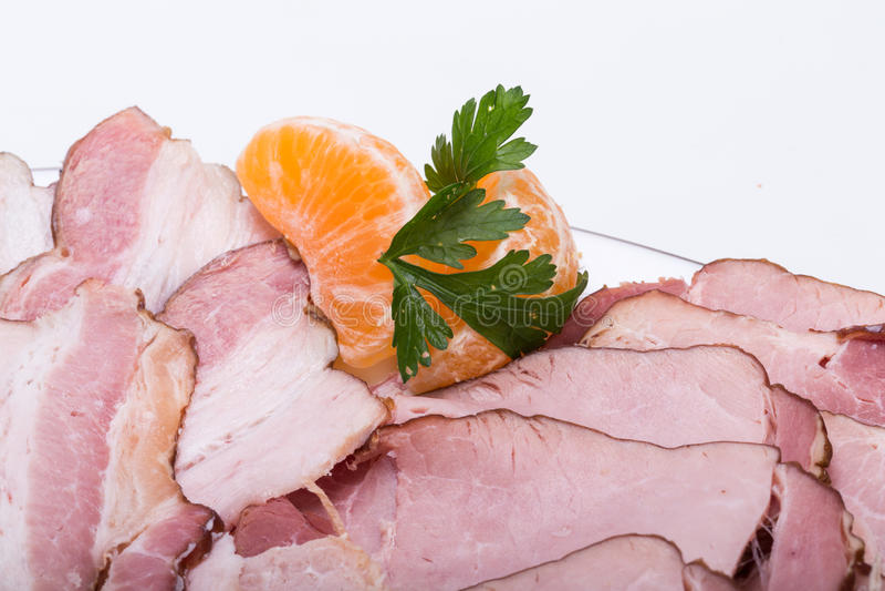 Placa da carne fumado fotografia de stock royalty free