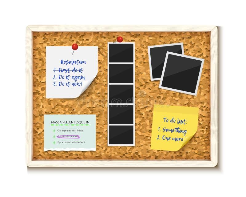 Placa da cortiça de Noticeboard com notas de papel, para fazer etiquetas e fotos ilustração do vetor