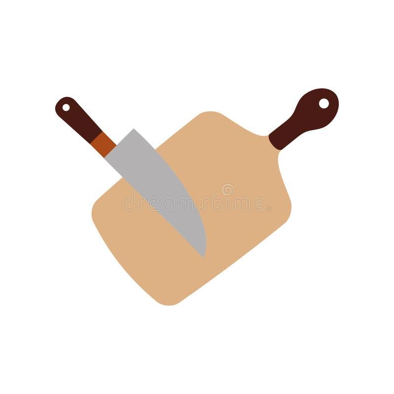 Placa da cozinha com faca ilustração royalty free