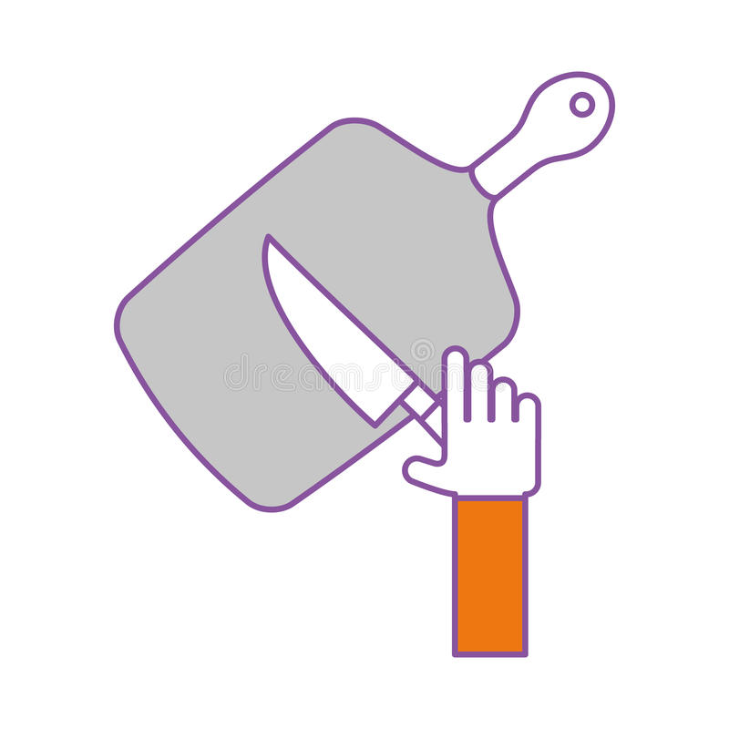 Placa da cozinha com faca ilustração do vetor