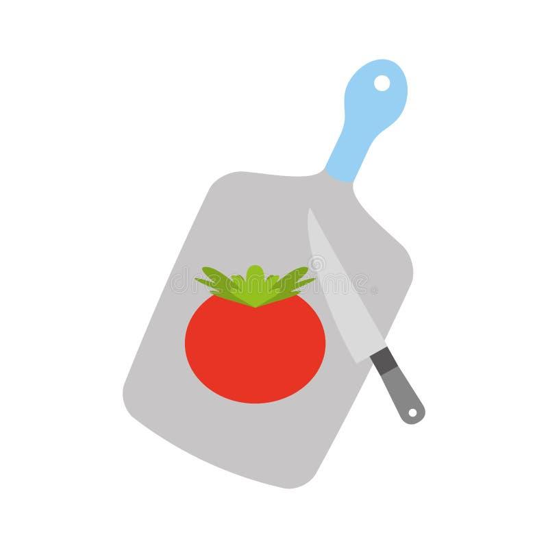 Placa da cozinha com tomate ilustração stock