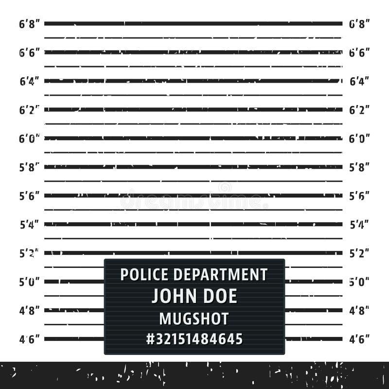 Placa da formação do mugshot da polícia ilustração royalty free