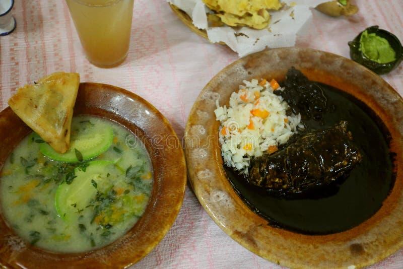 Placa da galinha com toupeira e arroz pretos imagem de stock