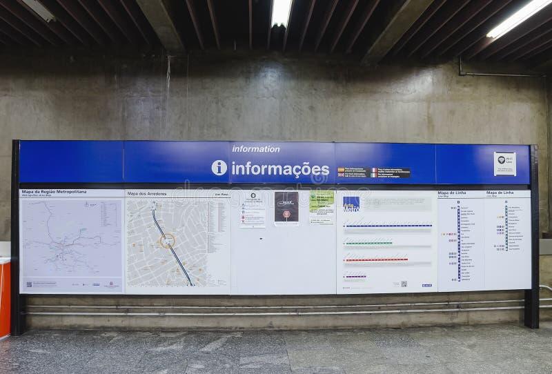 Placa da informação da estação de Ana Rosa Subway imagens de stock royalty free