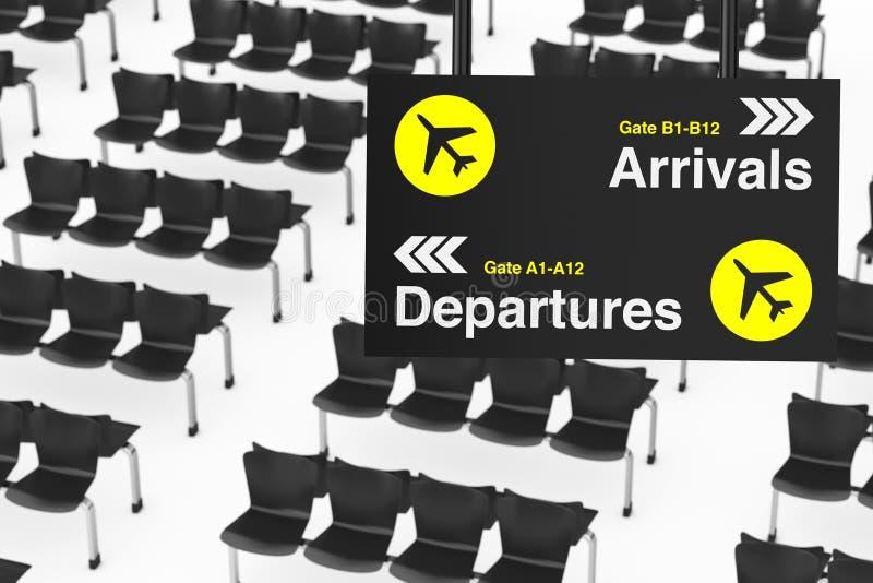 Placa da informação da partida & da chegada do aeroporto na frente de Airpor ilustração stock