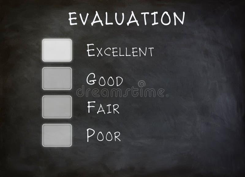 Placa da lista de verificação da avaliação foto de stock