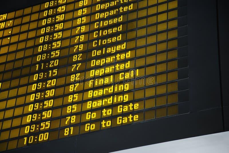 Placa da partida do aeroporto fotografia de stock