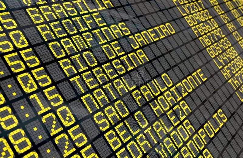 Placa da partida do aeroporto com destinos brasileiros fotos de stock royalty free