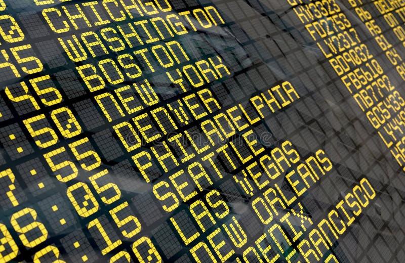 Placa da partida do aeroporto com destinos dos EUA fotografia de stock
